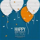 Deseo del cumpleaños con los globos en el estilo del plano Imagen de archivo libre de regalías