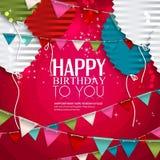 Deseo del cumpleaños con los globos en el estilo del plano Foto de archivo
