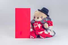 Deseo del oso de peluche usted Año Nuevo chino feliz Imagen de archivo libre de regalías