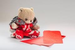 Deseo del oso de peluche usted Año Nuevo chino feliz Fotos de archivo