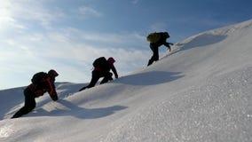 Deseo del trabajo en equipo de ganar Los escaladores suben al top de una monta?a nevosa en Alaska viajeros en el ?rtico en una co metrajes