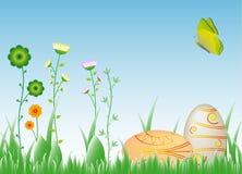 Deseo-huevos de Pascua en la hierba Fotos de archivo libres de regalías