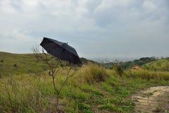 Deseo que no estuviera nublado, paraguas debajo del cielo Imagenes de archivo