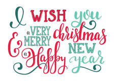 Deseos de las letras del Año Nuevo de la Navidad Fotos de archivo