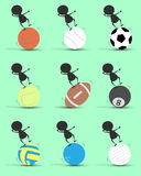Desequilíbrio dos desenhos animados do caráter do homem negro na bola dos esportes com fundo verde Gráfico liso Painel solar e si Imagem de Stock