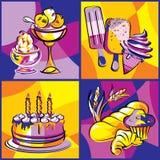 Deserów cukierki jaskrawi ilustracji