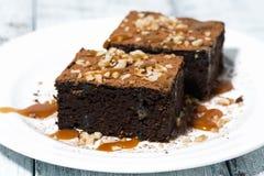 deser - kawałki czekoladowi punkty z karmelu kumberlandem Zdjęcia Stock