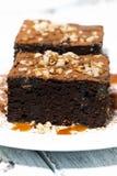 deser - kawałki czekoladowi punkty z karmelu kumberlandem Zdjęcie Stock