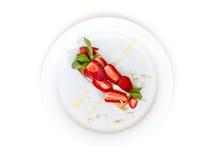 Deser na białym talerzu Zdjęcie Stock