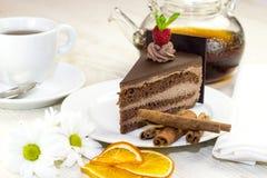 Deser na stole z herbatą Zdjęcia Stock
