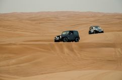 Deser safari at Dubai, United Arab Emirates. Desert safari of Dubai is famous attraction for the tourist. It is fun with bumpy and scary ride royalty free stock image