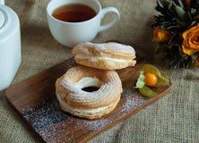 Deser z herbatą Zdjęcia Royalty Free