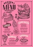 Deserowa menu restauracja, karmowy szablon Zdjęcia Stock