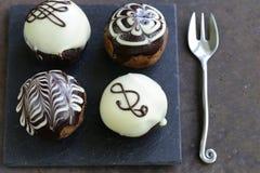 Deserowe biskwitowe piłki zasychają z czekoladą obrazy royalty free