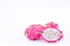 Deserowego organicznie smoka owocowy dragonfruit lub pitaya na białego tło zdrowego smoka owocowym jedzeniu odizolowywającym Zdjęcie Royalty Free