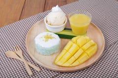 Deserowi słodcy kleiści ryż z mangowym kokosowym mlekiem i lody, obraz royalty free