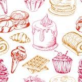 Deserowy bezszwowy wzór Słodki tło w ręka rysującym stylu Tapeta z babeczką, gofry, precel również zwrócić corel ilustracji wekto Zdjęcie Stock