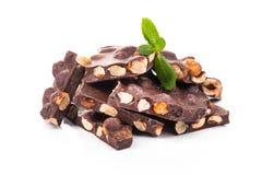 Deserowy czekoladowy kawałek z dokrętkami odizolowywać Obraz Stock