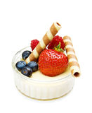 deserowy truskawkowy jogurt Fotografia Royalty Free
