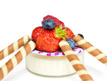 deserowy zdrowy truskawkowy jogurt Obraz Stock