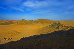 Desert 10. Desert, waves, golden sand and sky royalty free stock images