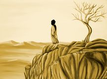 Desert. Handpainted illustration of a man looking over the desert Stock Images