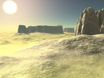 Desert. Generated in 3D, this a illustration of a desert with some rocks stock illustration