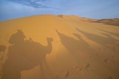Desert. Morocco desert whit camels, caravan Stock Photo