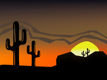 Desert. Sunset/sunrise over desert scene stock illustration