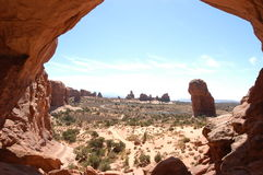 Desert. It's the view from the double Arch in the desert royalty free stock photo