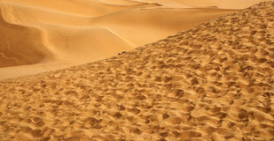 Desert. This photo is photoed in Xinjiang China, a small desert in ShanShan with yellow sand, which have good lines made from wind Stock Photos