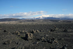 Desert. Stone desert with poor vegetation and snow-covered mountain (Hekla volcano, Iceland) in the distance royalty free stock images