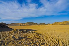 Desert 8. Desert, waves, golden sand and sky royalty free stock images