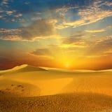 Desert. Sandy desert on sunset time royalty free stock photo