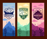 Desert Adventures Vertical Banner Set Stock Photography