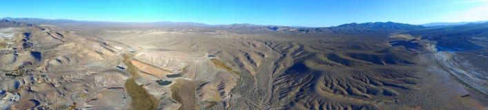 Desert Aerial Panorama. Desert Panorama 4:1 over central Nevada stock photo