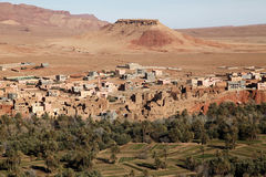 Desert in africa1. The desert in the south of morocco with a small village Stock Photos