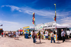 Desert Air Show Refreshments. BULLHEAD CITY, ARIZONA - APRIL 6: Visitors to the Legends Over the Colorado air show stop for refreshments on a hot spring day in royalty free stock photos