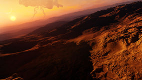 Desert Alien Planet Concept. Alien aircraft hovering on the horizon of a completely deserted planet with a strange figure on the ground walking. A high quality Stock Photography