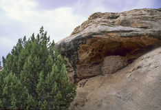 Desert Granary. An ancient Native American granary tucked under an overhanging cliff at Canyon Lands National Park Royalty Free Stock Photography