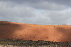 Desert arid peak stone volcanic mars landscape in Lanzarote Stock Photography