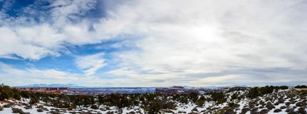 Winter Desert in Arizona, USA. Desert in Arizona with rare desert plants covered with clean white snow.  Canyon is seen on the background Stock Image