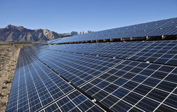 Desert Array. Mojave desert solar array at Red Rock Canyon National Conservation Area Royalty Free Stock Photography