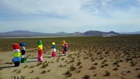 Desert of art colorful rock design, Seven Magic Mountains, aerial view