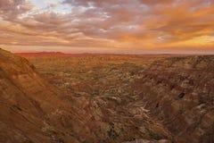 Desert badlands sunrise in Wyoming Stock Photo