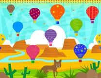 Desert Balloons Pattern Royalty Free Stock Photos