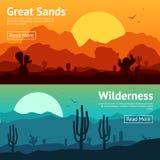 Desert Banner Set Stock Photography