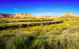 Desert  of bardenas reales natural park in summer Stock Photography