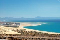 Desert beach. Desert and ocean in Fuerteventura Island Royalty Free Stock Image