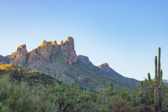 Desert Beauty Sunset. Amazing superstition mountains and a sunset Stock Photos